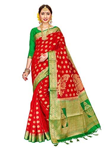 ELINA FASHION Sarees for Women Banarasi Art Silk Woven Work Saree l Indian Wedding Traditional Wear Sari and Blouse Piece (Red)