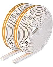 E-SMARTER Weerstrip tape, deuren ramen tochtstopper anti-botsing zelfklevend rubber D type EPDM schuim geluidsisolatie tochtstopper [2 Pack], geel/wit, 4 afdichtingen totaal 12 m