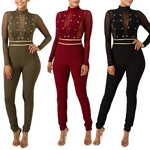 2e03173ce510 ThusFar Womens Long Sleeve Bodycon Jumpsuits - Sexy Mesh Patchwork Lace Up  Romper Wine Red Large