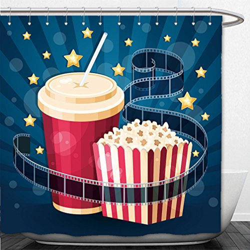 Cola Gazebo (Interestlee Shower Curtain illustration with popcorn box cola film strip and stars on the blue stripy background 236439718)