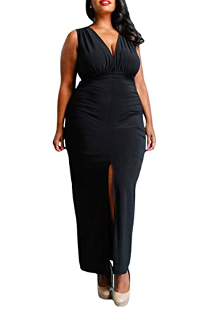 45662b6d83 Meenew Women s Solid Color Plunge Ruched Evening Bodycon Long Dress Black XL
