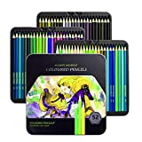 VicTsing 52 Colored Pencils, Premier Coloring Pencil Set with 3.3mm Hard Core (Harder Than Normal 2.8mm Core), Exquisite Mental Box, for Child Painting, Sketching, Colouring Books, 2019 Upgraded