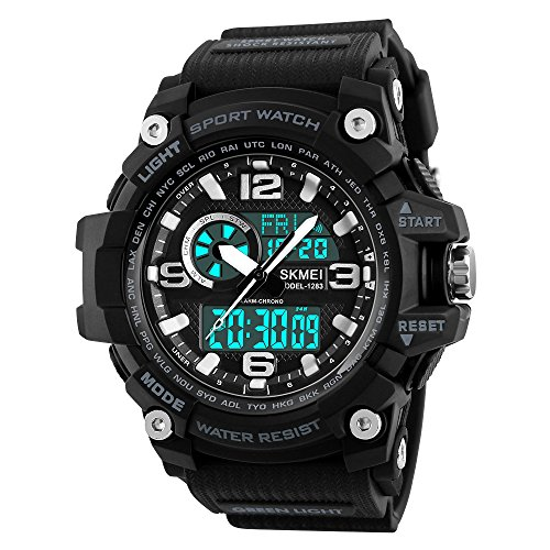 Mens Analog Digital Watch 50M Waterproof Outdoor Sport Watches Military Multifunction Casual Dual Display 12H/24H Stopwatch Calendar Wrist Watch - Black