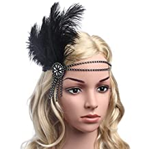 BABEYOND Women's Flapper Headband Black Feather Headband for Women Tassel Hair Band Crystal Headband Bling Ostrich Feather (Silver)