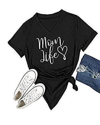 Ofenbuy Womens T Shirts V Neck Short Sleeve Graphic Tee Mom Life Shirt Casual Summer Tops