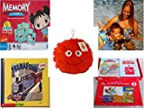 """Childrens Gift Bundle - Ages 3-5 [5 Piece] - Ni Hao Kai-LAN Edition Memory Game - Arm Bands for Swimming Pug Design Toy - Plush Appeal Red Fuzzy Happy Face Plush 7"""" - Thomas & Friends: Thomas and"""