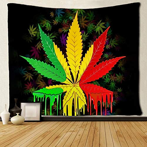 SARA NELL Tapestry Reggae Rasta Marijuana Leaf Weed Tapestries Wall Hanging Throw Tablecloth 50X60 Inches for Bedroom Living Room Dorm -