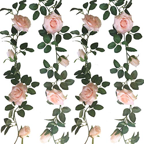 Rose Garland Mirror - Jing-Rise 2pcs 6.5Ft Artificial Silk Rose Vine Fake Flower Hanging Garland Artificial Plants for Wedding Party Garden Outdoor Home Hotel Office Shop Arch Wall Mirror Decoration (Light Pink)