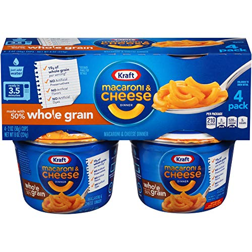 Kraft Whole Grain Macaroni & Cheese Microcups (2 oz Cups, Pack of 4)