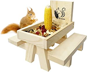 Squirrel Feeder for Outside and Garden ,Squirrel Picnic Table Feeder with Corn Cobs Holder and Peanut Tray,Squirrel Gifts for Squirrel and Chipmunk Lovers,Easy to Install