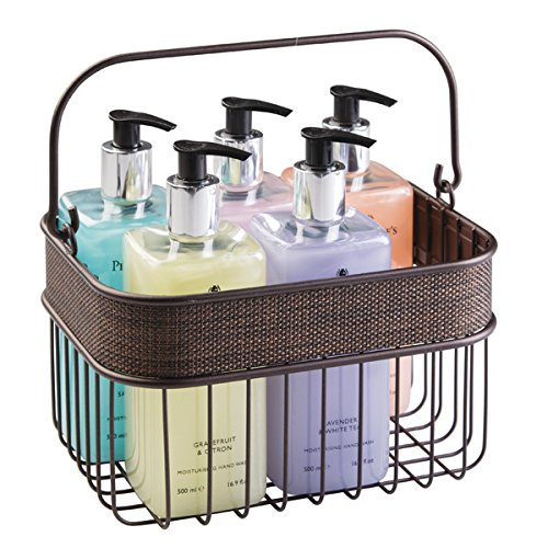 mDesign Household Wire Basket with Handle for Bathroom Storage - Bronze Photo #3