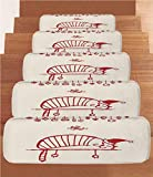 iPrint Non-Slip Carpets Stair Treads,Christmas Decorations,Fun Cat Sleeping with Hat and Little Fairy Hanging Xmas Ornaments Art Style,Red,(Set of 5) 8.6''x27.5''