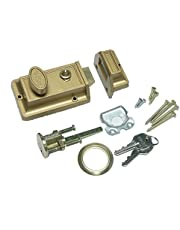 NU-SET 2105-3 Spring Night Latch with Holdback Button, Bronze