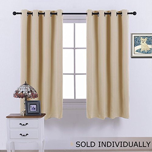 NICETOWN Room Darkening Window Shade Blind - (Cream Beige Color) Light Reducing & Privacy Protection Blackout Short Curtain/Drape / Drapery Kid's Bedroom, 52x63-Inch, 1 (Cream Rectangular Shade)