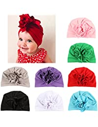 21673b0f514 Baby Girl Hat with Rabbit Ears Toddlers Soft Turban Knot Bow Cap