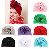 DANMY Baby Girl Hat with Rabbit Ears Toddlers Soft Turban Knot Bow Cap (Flower Hat (8pcs))