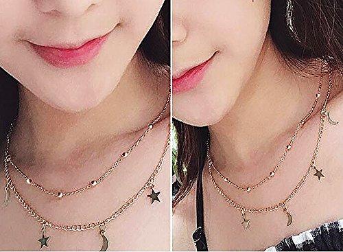 3154af749eef3 Gleamart Women Girls Layered Crescent Moons & Stars Beads Charm Choker  Necklace Gold