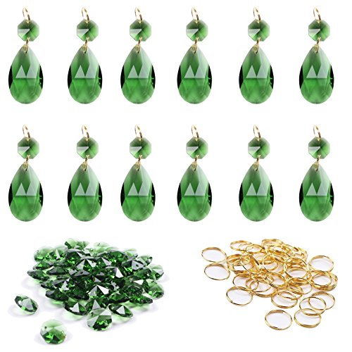 BIHRTC 12Pcs 38mm Galss Crystal Teardrop Chandelier Prisms Parts Hanging Galss Crystal Pendants Beads +50pcs Metal Split Ring + 50pcs 14mm Octagonal Beads (Green Teardrop Pendant)