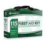 Medicare Deluxe Kit de primeros auxilios (115artículos) la mayoría de los suministros de primeros auxilios esenciales para el hogar, Viajar, Camping, Oficina y el Lugar de Trabajo