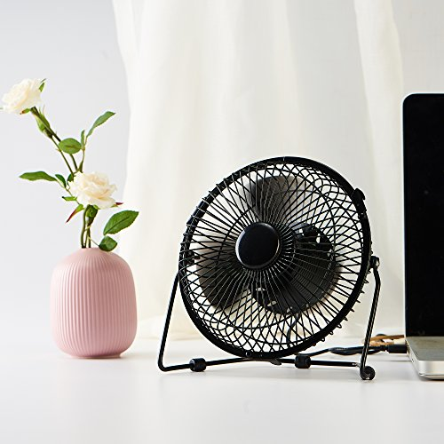 Small Quiet Electric Fans : Small desk fan with clock and temperature display lichamp