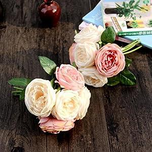 LtrottedJ Artificial Rose Silk Flowers ,5 Flower Head Leaf Garden Decor DIY 3