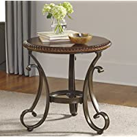 Gambrey Reddish Brown Color Round End Table