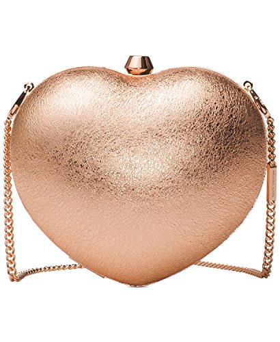 (Michael Kors Pearlized Small Heart Box Clutch (Gold)