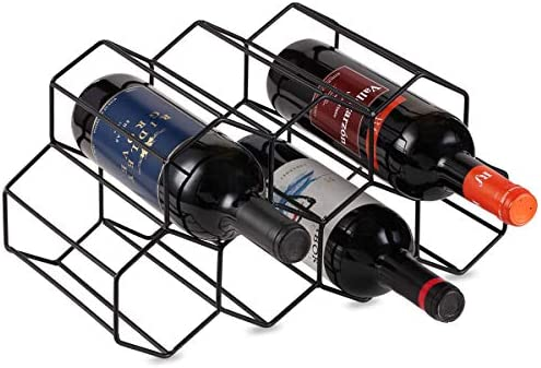 Buruis 7 Bottles Metal Wine Rack Countertop Free Stand Wine Storage Holder Space Saver Protector For Red White Wines Black Kitchen Dining