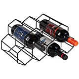 Buruis Metal Wine Rack,Countertop Wine Holder Stand Stack 7 Bottles, Space Saver, Free Standing Wine Storage Rack for Cabinet Home Décor -Black