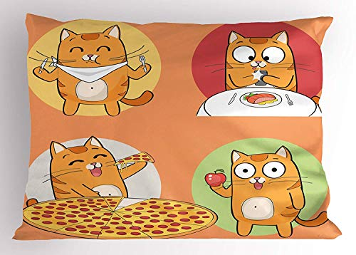 K0k2t0 Cat Pillow Sham, Cute Characters Food Fork Breakfast Pizza Apple Cartoon Design, Decorative Standard Queen Size Printed Pillowcase, 30 X 20 inches, Salmon Pale Yellow Pistachio Green