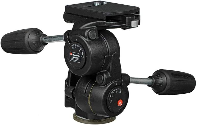 808RC4 Renewed Manfrotto 3-Way Pan//Tilt Head with RC4 Quick Release Plate