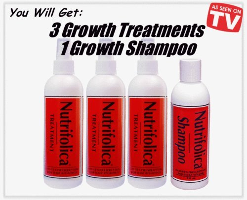 3 Nutrifolica Treatment - 1 Free Shampoo - Regrow Your Own Hair Faster - Stop Dht, Hair Loss Nautrally