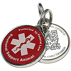 Pet Dwelling Advanced ESA ID Red QR Code Tag Links to Free Online Profile w/Photo ID/Medical Info/Scanned GPS Location
