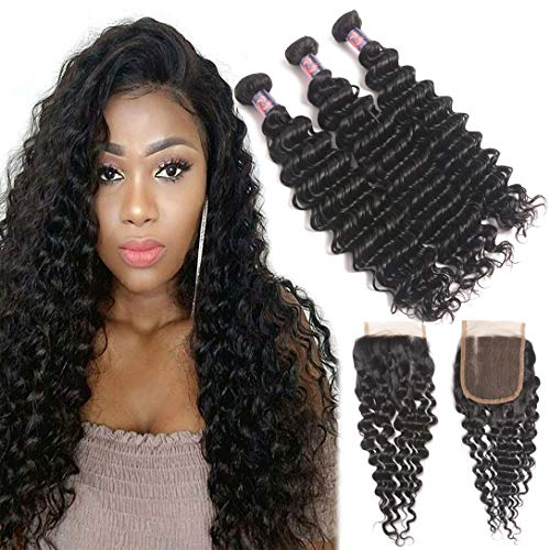 Brazilian Deep Wave Bundles with Three Part Closure (22 24 26+20,Natural Black) 10A 100% Unprocessed Virgin Brazilian Deep Wave Human Hair Weave with Lace Closure Brazilian Deep Curly