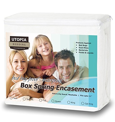 Buy Discount Premium Bed Bug Proof Box Spring Encasement - Waterproof Zippered Box Spring Cover - Ul...