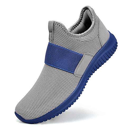 - Guteidee Men Women Fashion Sneakers Athletic Mesh Lightweight Slip-on Running Shoes Grey Blue