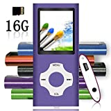 Tomameri - MP3 / MP4 Player with Rhombic Button, Portable Music and Video Player, Including a 16 GB Micro SD Card and Maximum support 32GB, Supporting Photo Viewer, Video and Voice Recorder - Purple