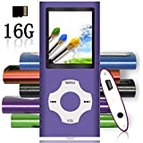 Tomameri - Portable MP3 / MP4 Player with Rhombic Button, Including a 16 GB Micro SD Card and Support up to 32GB-Purple