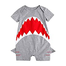 FUNOC Baby Boy Toddler Shark Short Romper with Sleeve Playsuit Jumpsuit