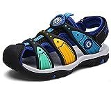 DADAWEN Boy's Girl's Summer Outdoor Breathable Athletic Bump Toe Strap Sport Sandals (Toddler/Little Kid/Big Kid) Black US Size 1 M Little Kid