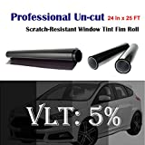 Mkbrother Uncut Roll Window Tint Film 5% VLT 24'' In x 25' Ft Feet (24 X 300 Inch) Car Home Office Glasss