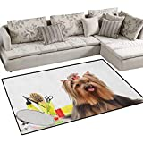 Yorkie,Rug,Yorkshire Terrier with Stylish Hairdressing Equipment Mirror Scissors,Area Carpet,Dark Brown Multicolor Size:55''x63''