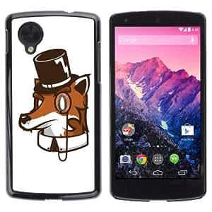 iKiki-Tech Estuche rígido para LG Google Nexus 5 - High Class Fox Funny Illustration