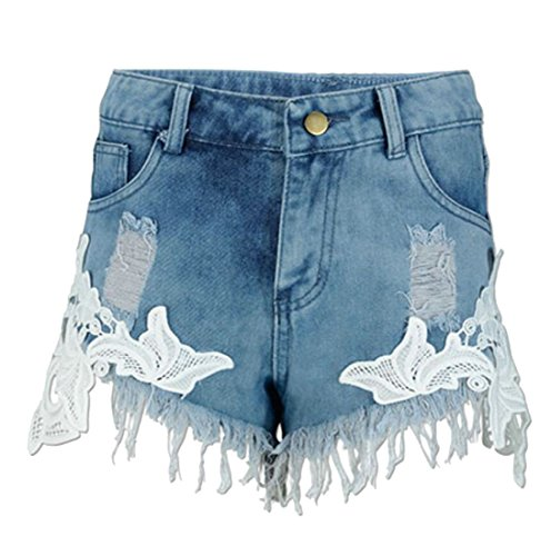 Waist Tassel Hole Denim Shorts (Blue) - 8