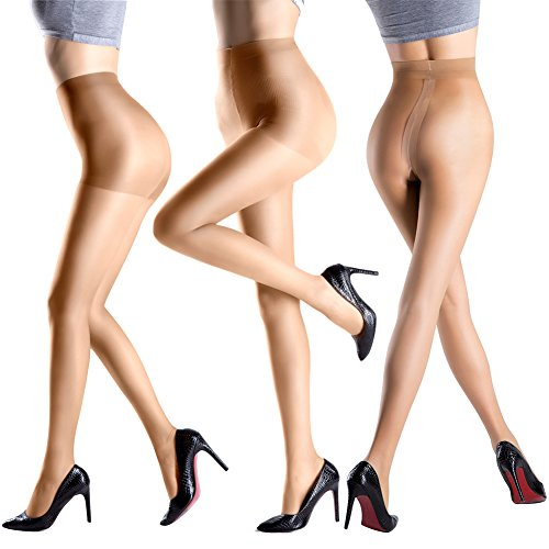 Pantyhose 3 Pack in Different Style-Control Top Tights Sheer-T Crotch Stockings For Slit Dress-Pantyhose With Opaque Panty (M, (Stockings And Tights)
