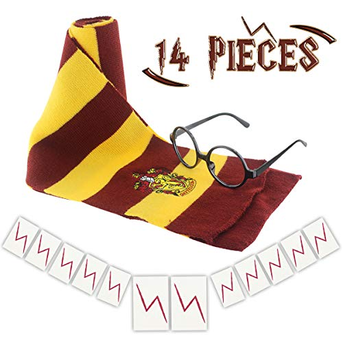 GeeVen Novelty Scarf Wizard Glasses with Round Frame No Lenses 12 PCs Lightning Bolt Tattoos for Kids Christmas Birthday Party Cosplay Costume -