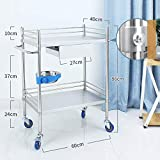 JZX Hospital Trolley, Medical Supplies Rack-Medical Cart Tool Medical Rolling Cart with Rail Drawer, 2/3 Tier Beauty Salon Trolley with Dirt Bucket, 150 Kg Capacity, Hospital Utility Cart with Brake