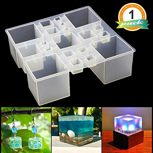 Square Resin Silicone Mold LET'S RESIN Resin Cube Molds, Silicone Molds for Resin, Epoxy Molds for Jewelry, Magic Cube, Paperweight, Specimen Making