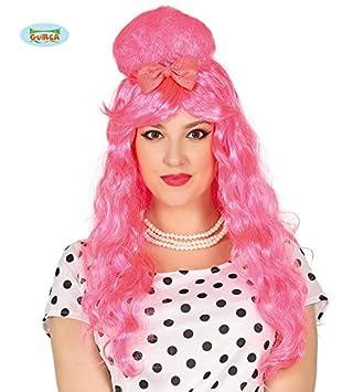 Guirca 50er Neon Pink Langhaarperucke Dutt Perucke Fur Damen