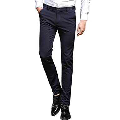 42927472ea416c Hose Herren Anzughose Business Hose Leichte Fashion Slim Hose Pants  Sommerhose Fit Straight Leg 30 38
